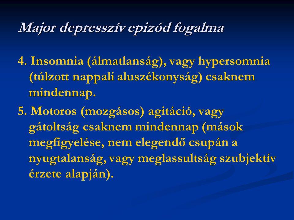 4. Insomnia (álmatlanság), vagy hypersomnia (túlzott nappali aluszékonyság) csaknem mindennap. 5. Motoros (mozgásos) agitáció, vagy gátoltság csaknem