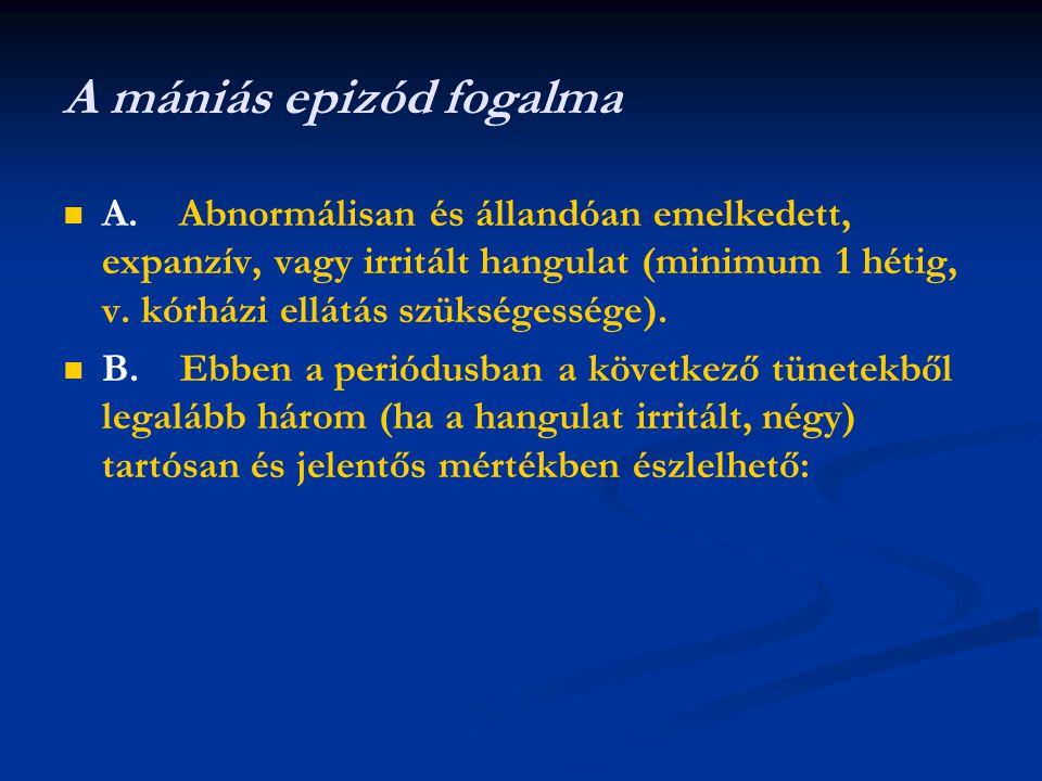 A mániás epizód fogalma A. Abnormálisan és állandóan emelkedett, expanzív, vagy irritált hangulat (minimum 1 hétig, v. kórházi ellátás szükségessége).