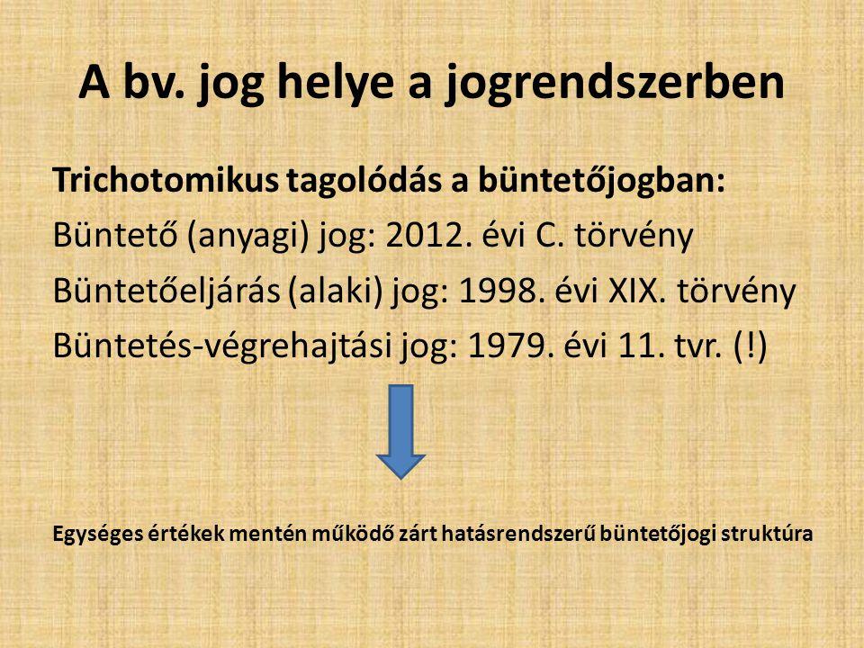 A bv. jog helye a jogrendszerben Trichotomikus tagolódás a büntetőjogban: Büntető (anyagi) jog: 2012. évi C. törvény Büntetőeljárás (alaki) jog: 1998.