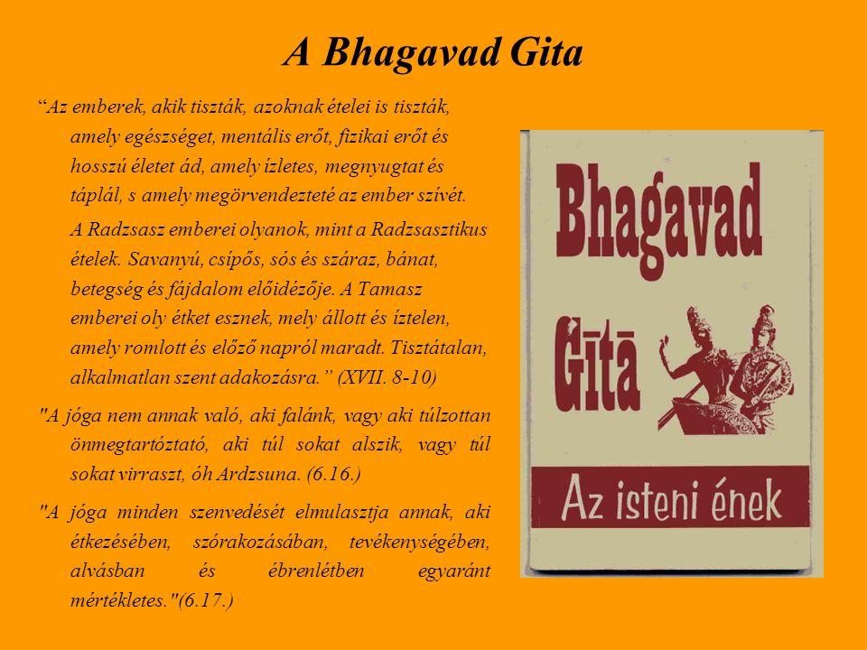 A Bhagavad Gita kihangsúlyozza a felajánlás és az áldozat fontosságát az étkezésben.