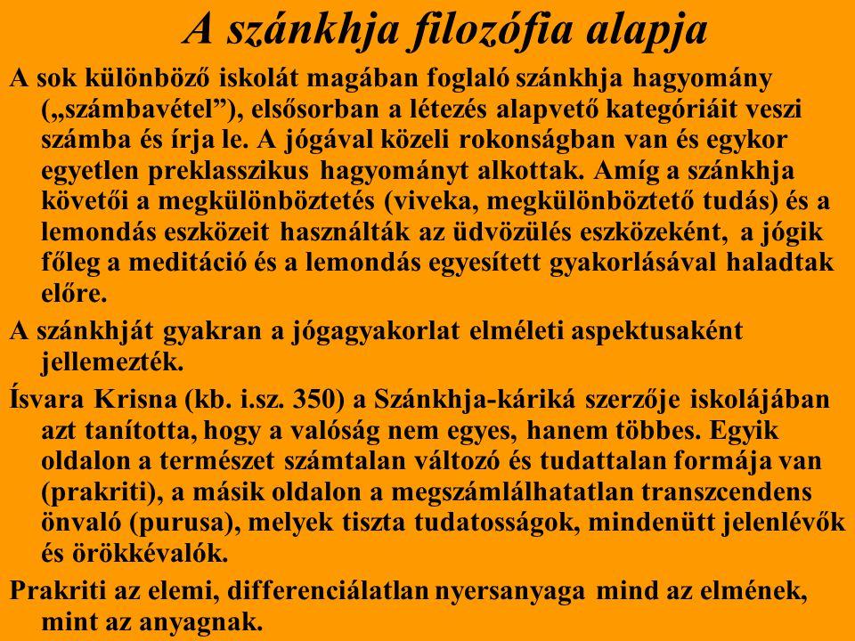 A szánkhja filozófia alapja Ísvara Krisna azt tanította, hogy a természet három alapvető kötőerő, vagy dinamikus minőség (guna) kölcsönhatása által létrejövő óriási kompozíció, vagy több dimenzióban ható struktúra.