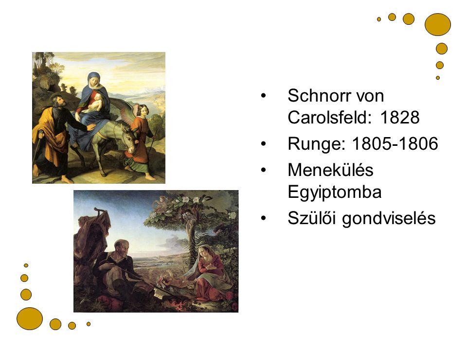Schnorr von Carolsfeld: 1828 Runge: 1805-1806 Menekülés Egyiptomba Szülői gondviselés
