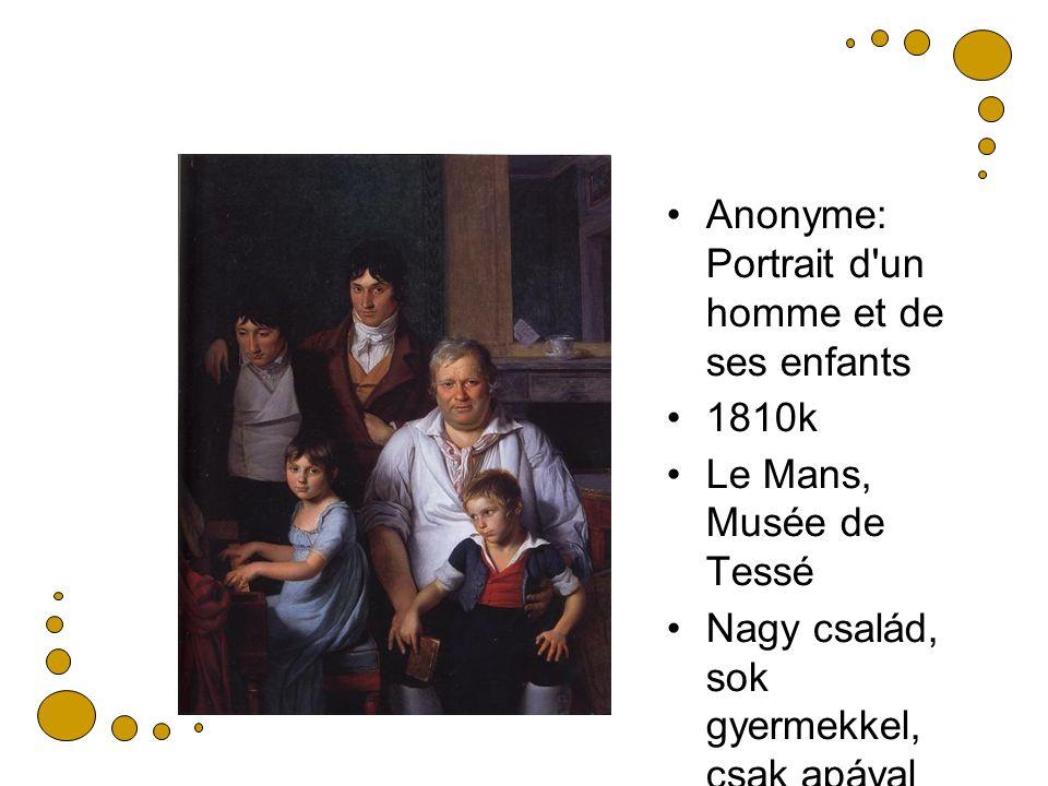 Anonyme: Portrait d un homme et de ses enfants 1810k Le Mans, Musée de Tessé Nagy család, sok gyermekkel, csak apával