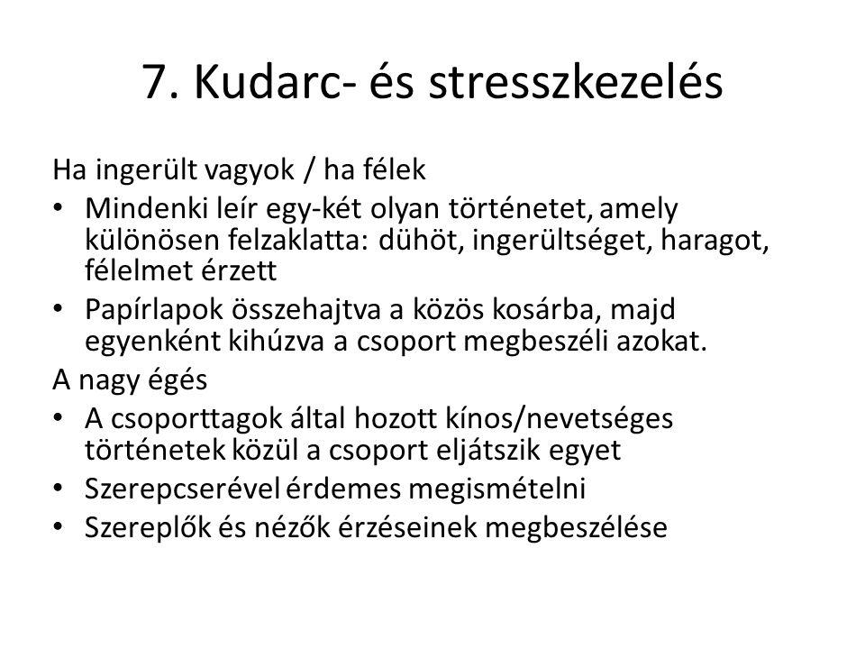 7. Kudarc- és stresszkezelés Ha ingerült vagyok / ha félek Mindenki leír egy-két olyan történetet, amely különösen felzaklatta: dühöt, ingerültséget,