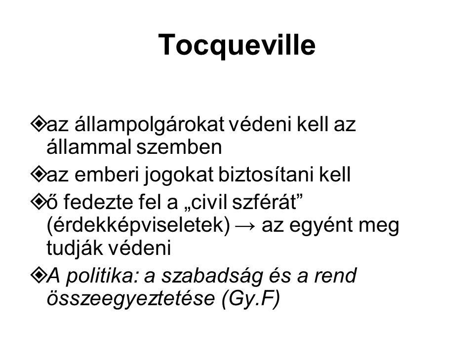 """Tocqueville  az állampolgárokat védeni kell az állammal szemben  az emberi jogokat biztosítani kell  ő fedezte fel a """"civil szférát (érdekképviseletek) → az egyént meg tudják védeni  A politika: a szabadság és a rend összeegyeztetése (Gy.F)"""