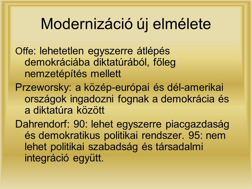 Modernizáció új elmélete Offe : lehetetlen egyszerre átlépés demokráciába diktatúrából, főleg nemzetépítés mellett Przeworsky: a közép-európai és dél-amerikai országok ingadozni fognak a demokrácia és a diktatúra között Dahrendorf: 90: lehet egyszerre piacgazdaság és demokratikus politikai rendszer.