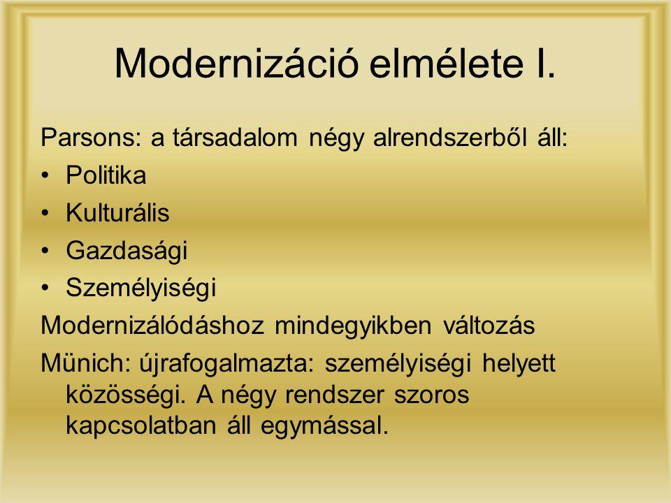 Modernizáció elmélete I. Parsons: a társadalom négy alrendszerből áll: Politika Kulturális Gazdasági Személyiségi Modernizálódáshoz mindegyikben válto