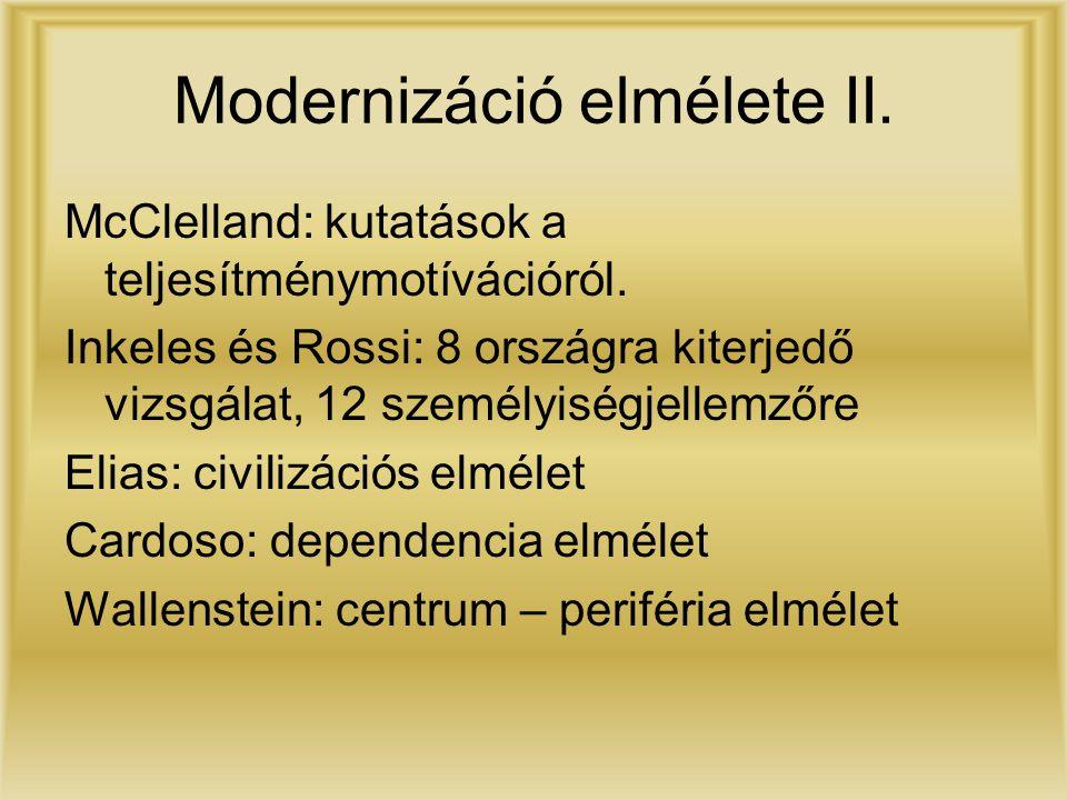 Modernizáció elmélete II. McClelland: kutatások a teljesítménymotívációról. Inkeles és Rossi: 8 országra kiterjedő vizsgálat, 12 személyiségjellemzőre
