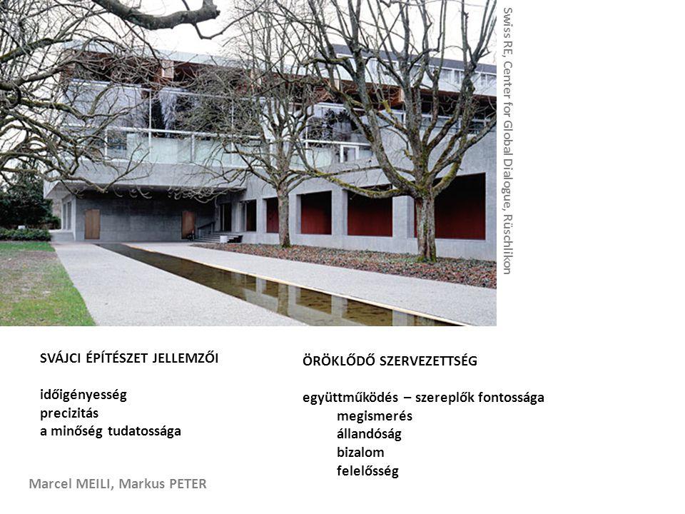 Marcel MEILI, Markus PETER SVÁJCI ÉPÍTÉSZET JELLEMZŐI időigényesség precizitás a minőség tudatossága ÖRÖKLŐDŐ SZERVEZETTSÉG együttműködés – szereplők fontossága megismerés állandóság bizalom felelősség Swiss RE, Center for Global Dialogue, Rüschlikon