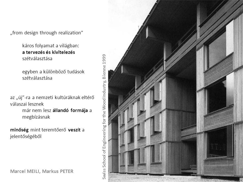 """Marcel MEILI, Markus PETER """"from design through realization káros folyamat a világban: a tervezés és kivitelezés szétválasztása egyben a különböző tudások szétválasztása az """"új -ra a nemzeti kultúráknak eltérő válaszai lesznek már nem lesz állandó formája a megbízásnak minőség mint teremtőerő veszít a jelentőségéből Swiss School of Engineering for the Wood Industry, Bienne 1999"""