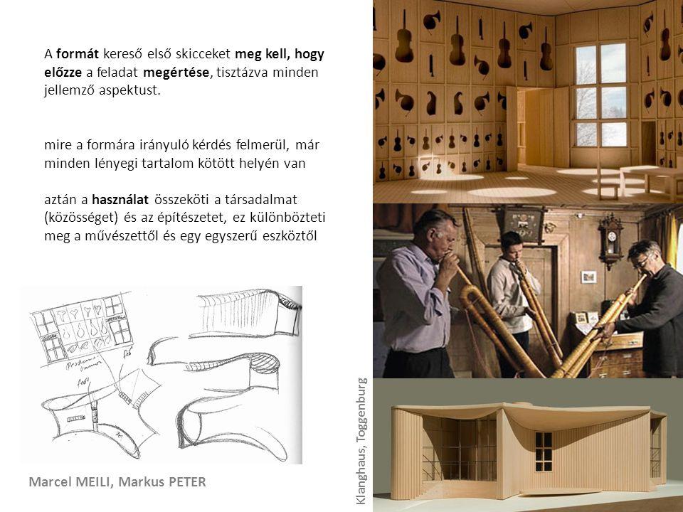 Marcel MEILI, Markus PETER A formát kereső első skicceket meg kell, hogy előzze a feladat megértése, tisztázva minden jellemző aspektust.
