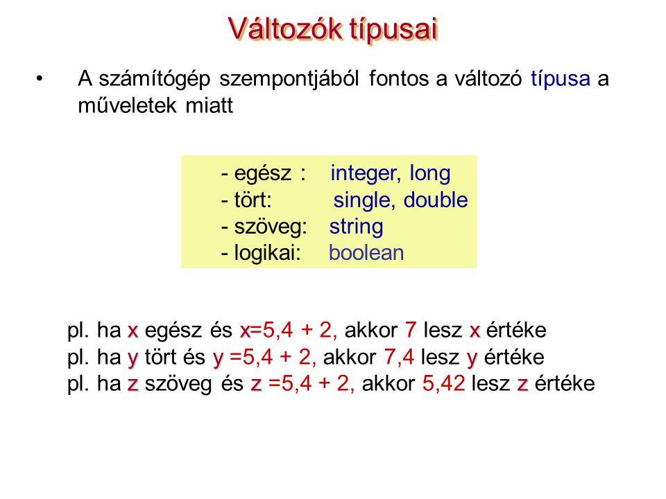 A számítógép szempontjából fontos a változó típusa a műveletek miatt Változók típusai xxx pl.