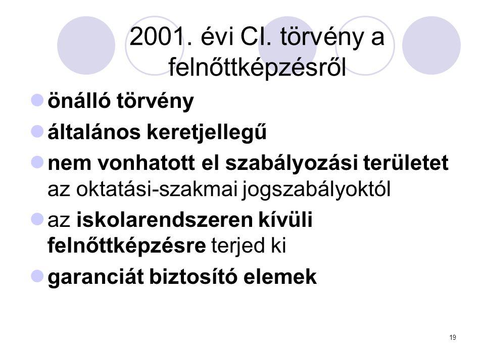 19 2001. évi CI. törvény a felnőttképzésről önálló törvény általános keretjellegű nem vonhatott el szabályozási területet az oktatási-szakmai jogszabá