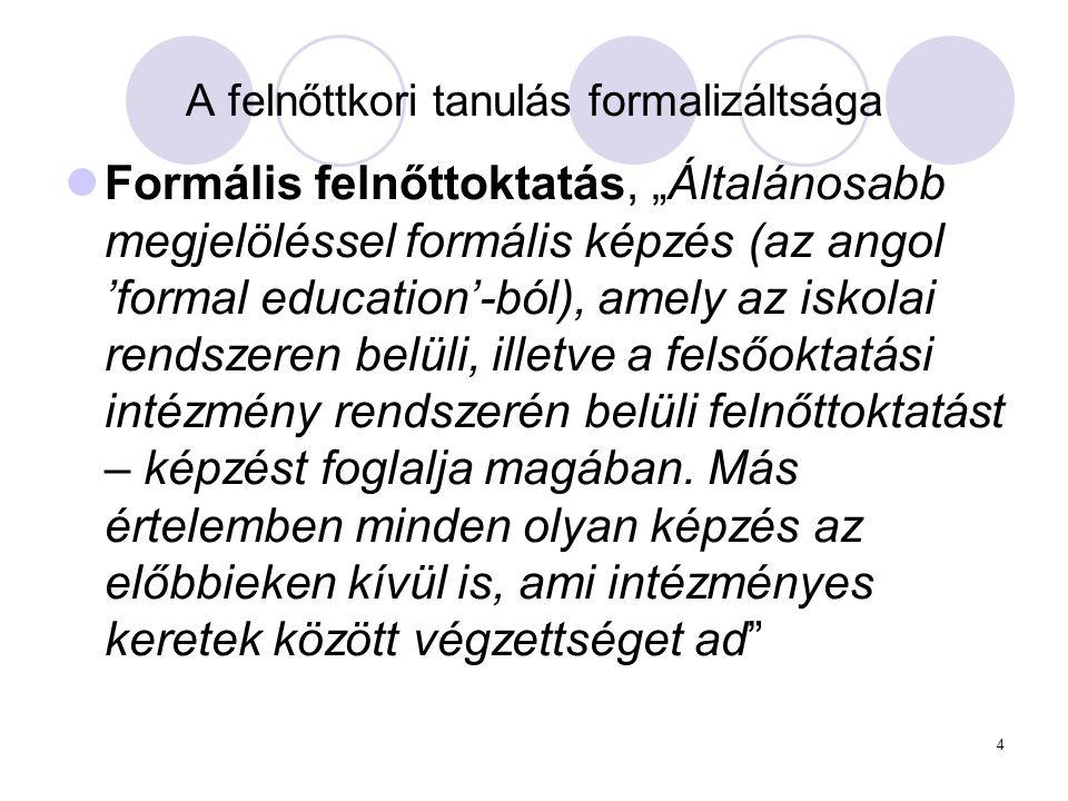 """4 A felnőttkori tanulás formalizáltsága Formális felnőttoktatás, """"Általánosabb megjelöléssel formális képzés (az angol 'formal education'-ból), amely"""