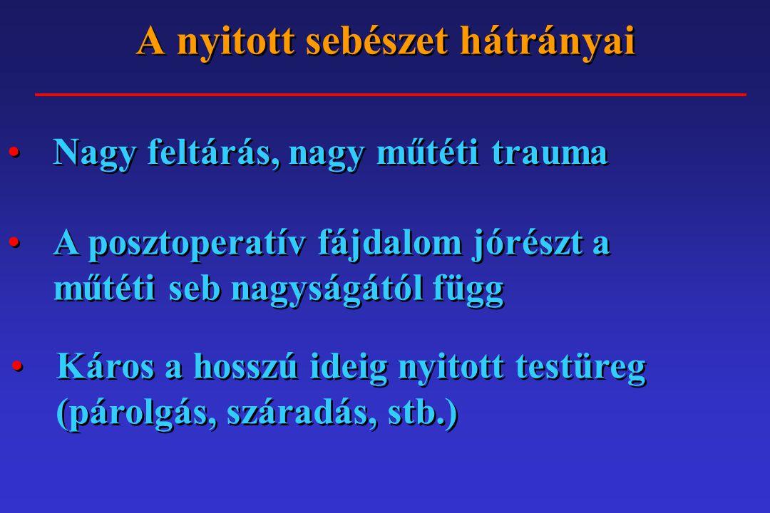 A nyitott sebészet hátrányai A feltárások során másodlagos sérülések veszélye (bél, lép, tüdő) Az összenövések veszélye nagy A nagy sebnél nagyobb a szövődmény veszély (fertőzés, sérv, stb.)