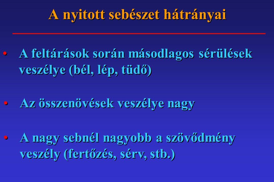 A minimál invazív sebészet spektruma Laparoscopos Thoracoscopos Endoluminalis Intraarterialis Kombinált, egyéb Laparoscopos Thoracoscopos Endoluminalis Intraarterialis Kombinált, egyéb