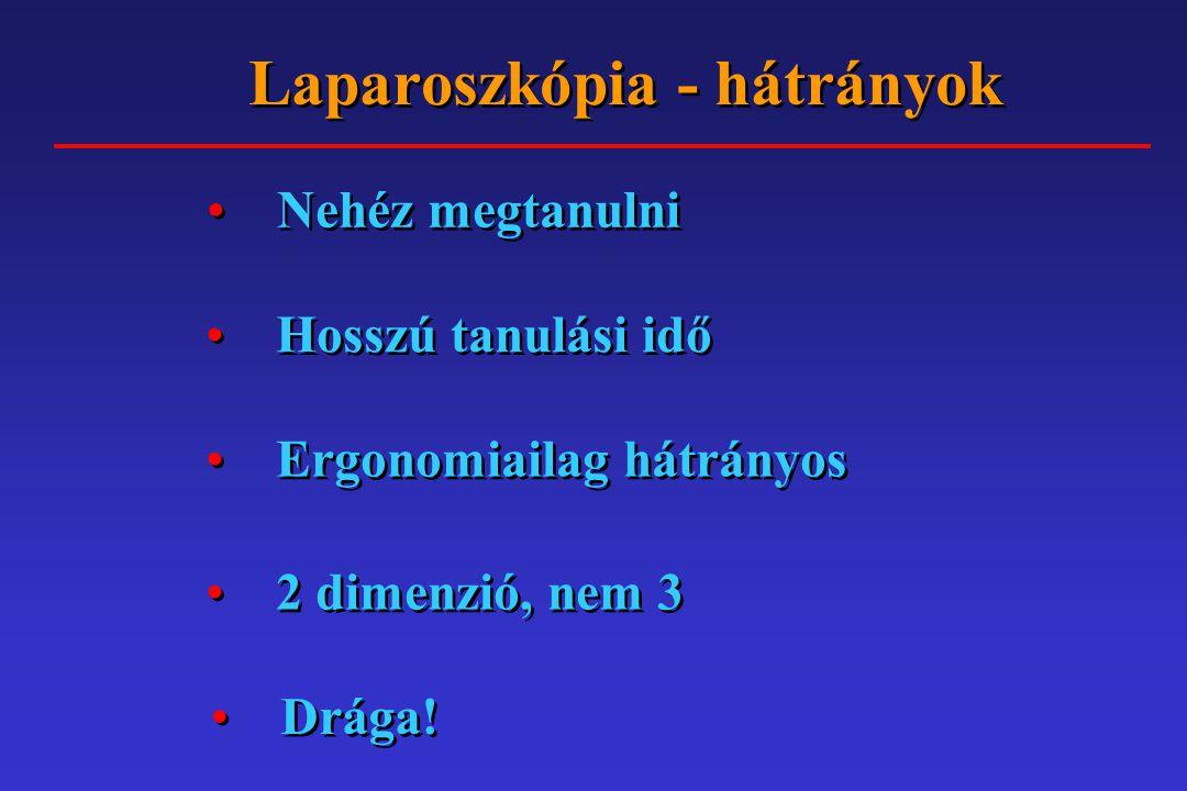 MINIMÁL INVAZÍV SEBÉSZET Szövődmények: Co 2 -acidosis, csökkent vénás visszaáramlás, emphysema, ér-, üreges szerv sérülés Conversio: Nem szabad erőltetni a laparoszkópos műtétet: Vérzés Sérülés Nehéz anatómia Szövődmények: Co 2 -acidosis, csökkent vénás visszaáramlás, emphysema, ér-, üreges szerv sérülés Conversio: Nem szabad erőltetni a laparoszkópos műtétet: Vérzés Sérülés Nehéz anatómia