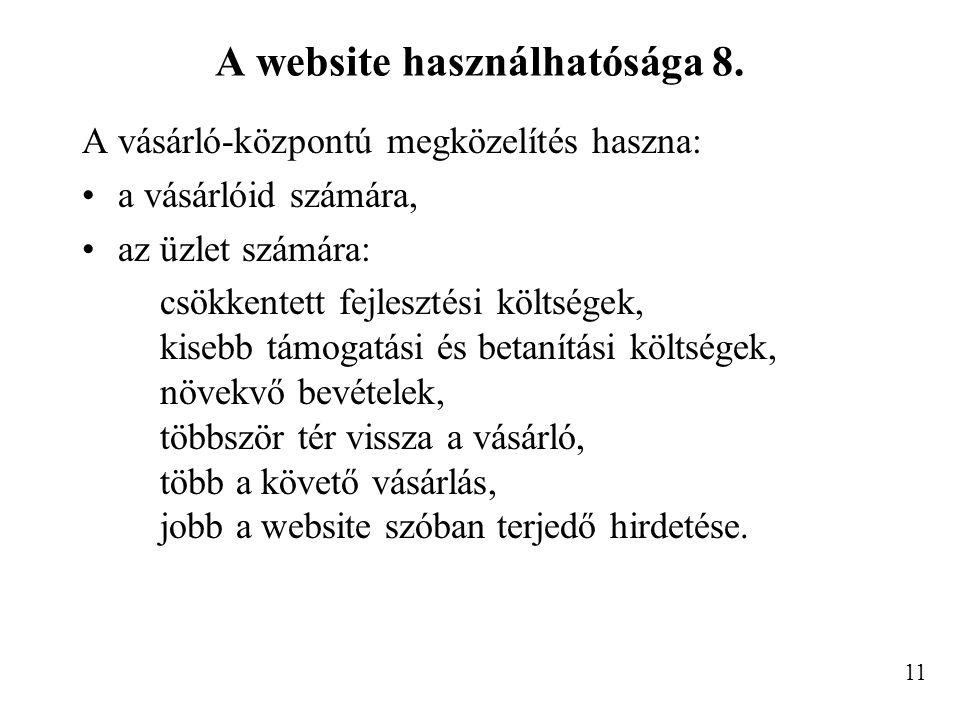 A website használhatósága 8.