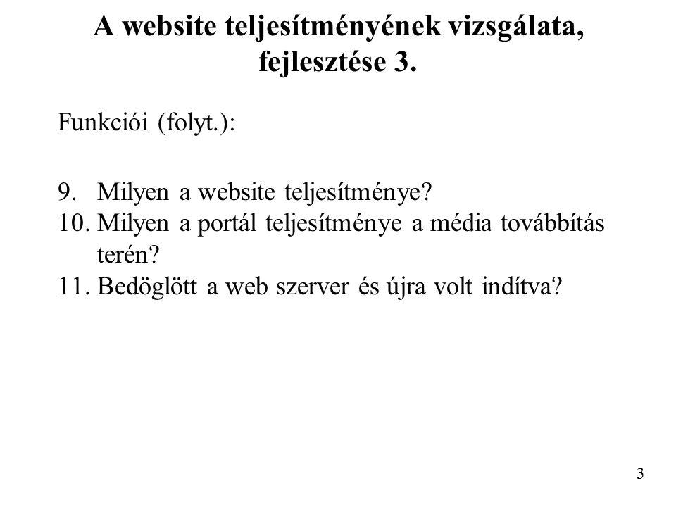 A website teljesítményének vizsgálata, fejlesztése 3.