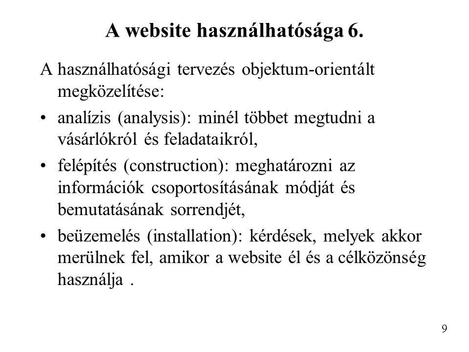 A website használhatósága 6.