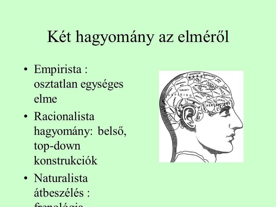 Két hagyomány az elméről Empirista : osztatlan egységes elme Racionalista hagyomány: belső, top-down konstrukciók Naturalista átbeszélés : frenológia