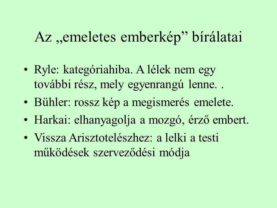"""Az """"emeletes emberkép"""" bírálatai Ryle: kategóriahiba. A lélek nem egy további rész, mely egyenrangú lenne.. Bühler: rossz kép a megismerés emelete. Ha"""