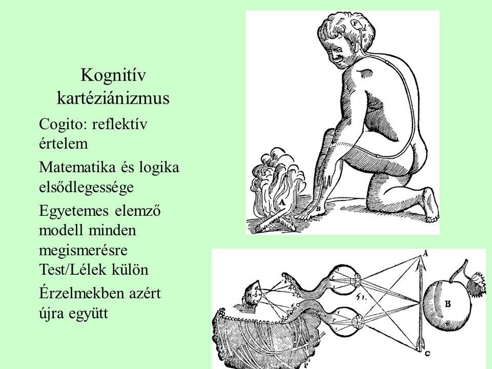 Kognitív kartéziánizmus Cogito: reflektív értelem Matematika és logika elsődlegessége Egyetemes elemző modell minden megismerésre Test/Lélek külön Érz
