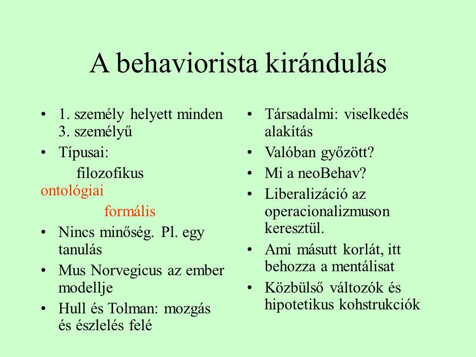 A behaviorista kirándulás 1. személy helyett minden 3. személyű Típusai: filozofikus ontológiai formális Nincs minőség. Pl. egy tanulás Mus Norvegicus
