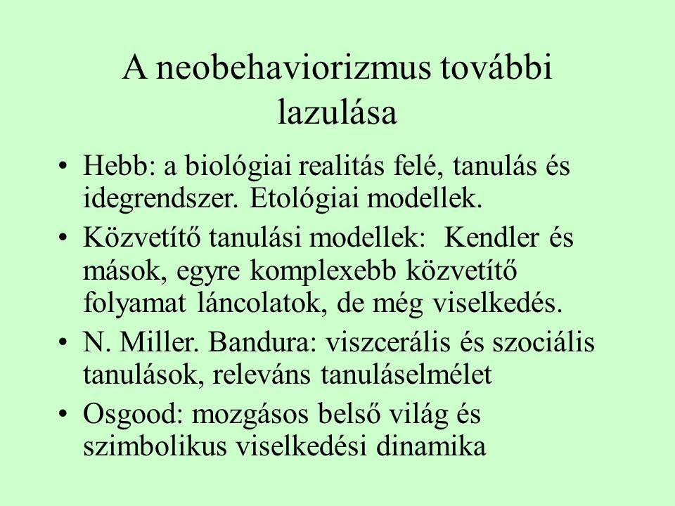 A neobehaviorizmus további lazulása Hebb: a biológiai realitás felé, tanulás és idegrendszer. Etológiai modellek. Közvetítő tanulási modellek: Kendler