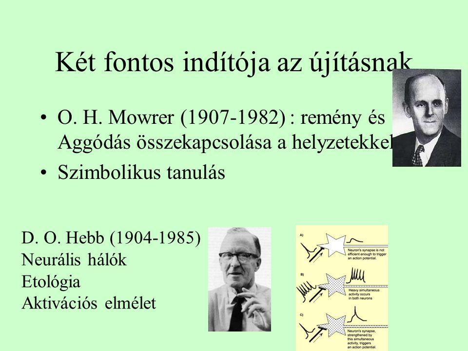 Két fontos indítója az újításnak O. H. Mowrer (1907-1982) : remény és Aggódás összekapcsolása a helyzetekkel Szimbolikus tanulás D. O. Hebb (1904-1985