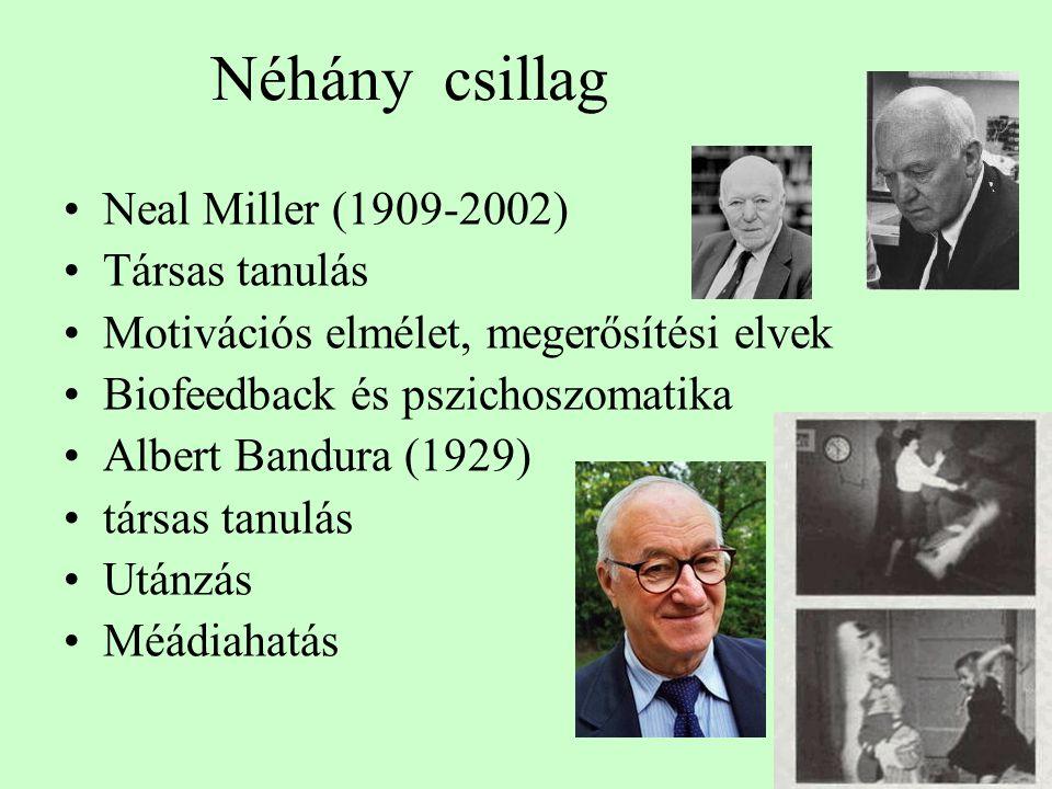 Néhány csillag Neal Miller (1909-2002) Társas tanulás Motivációs elmélet, megerősítési elvek Biofeedback és pszichoszomatika Albert Bandura (1929) társas tanulás Utánzás Méádiahatás