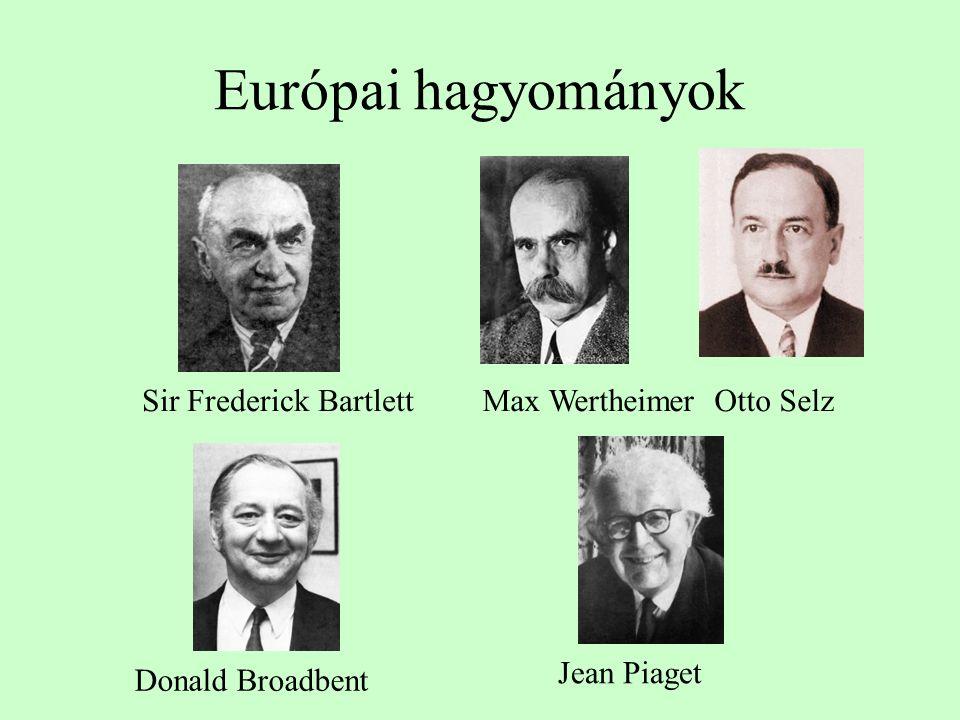 Európai hagyományok Sir Frederick BartlettMax Wertheimer Otto Selz Donald Broadbent Jean Piaget