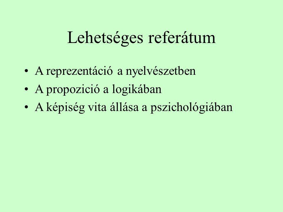 Lehetséges referátum A reprezentáció a nyelvészetben A propozició a logikában A képiség vita állása a pszichológiában