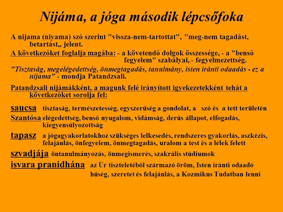 """Nijáma, a jóga második lépcsőfoka A nijama (niyama) szó szerint vissza-nem-tartottat , meg-nem tagadást, betartást"""" jelent."""