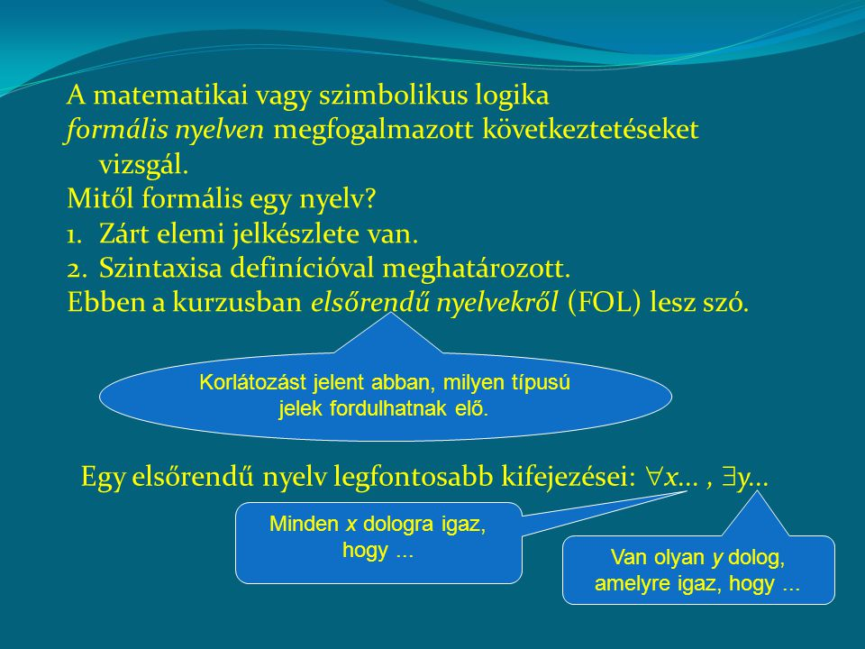 A FOL nyelvek szintaxisa eltér a megszokottól: Van olyan bág, amelyik cékes  Van olyan y dolog, hogy (y bág és y cékes) Vannak bennük olyan elemek, amelyeknek nincs (pontos) megfelelője a köznyelvben.