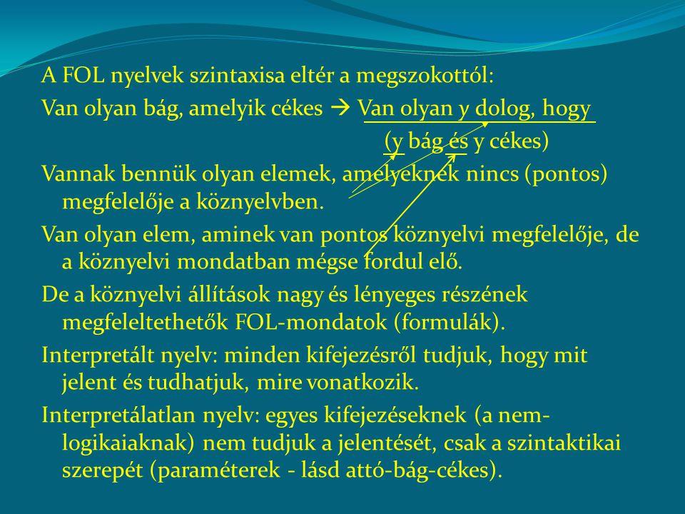 A FOL nyelvek szintaxisa eltér a megszokottól: Van olyan bág, amelyik cékes  Van olyan y dolog, hogy (y bág és y cékes) Vannak bennük olyan elemek, a