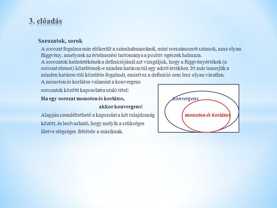 Függvények határértéke, folytonossága Függvények végtelenben (+, - ) vett határértéke A sorozatok analógiájára tárgyalható le.