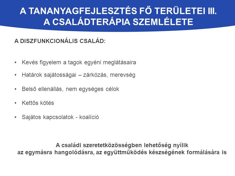 A TANANYAGFEJLESZTÉS FŐ TERÜLETEI III.