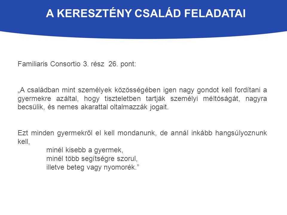 A KERESZTÉNY CSALÁD FELADATAI Familiaris Consortio 3.