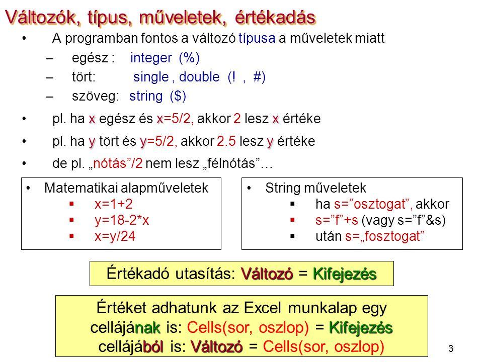 3 A programban fontos a változó típusa a műveletek miatt –egész : integer (%) –tört: single, double (!, #) –szöveg: string ($) xxxpl.