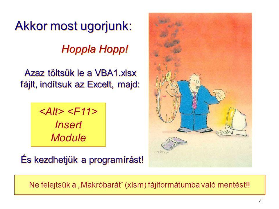 4 Akkor most ugorjunk: Azaz töltsük le a VBA1.xlsx fájlt, indítsuk az Excelt, majd: Hoppla Hopp.