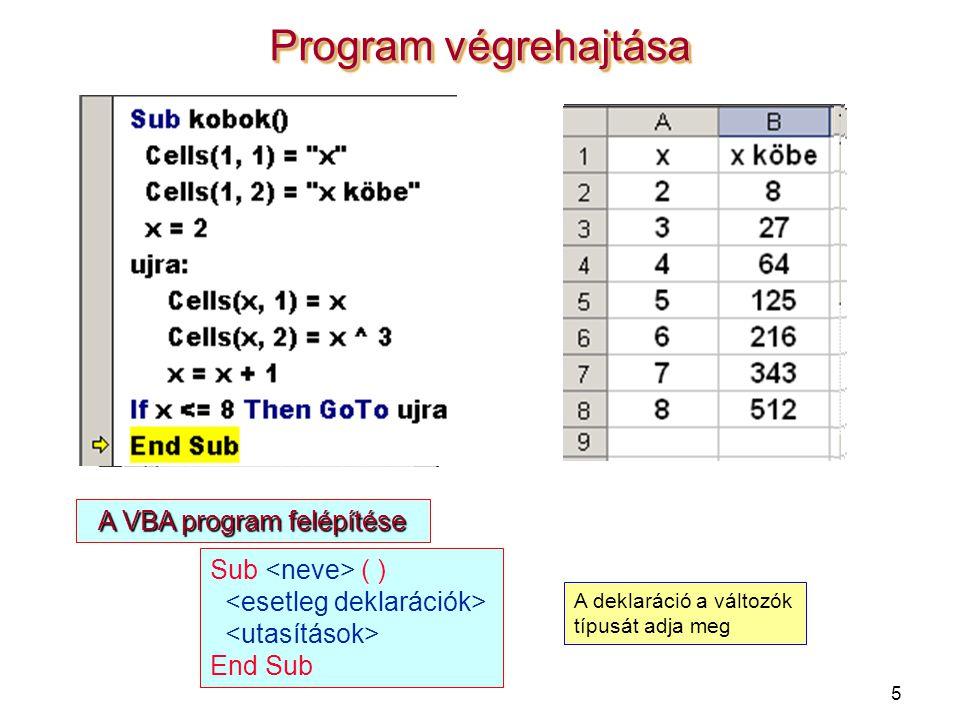 5 Program végrehajtása A VBA program felépítése Sub ( ) End Sub A deklaráció a változók típusát adja meg