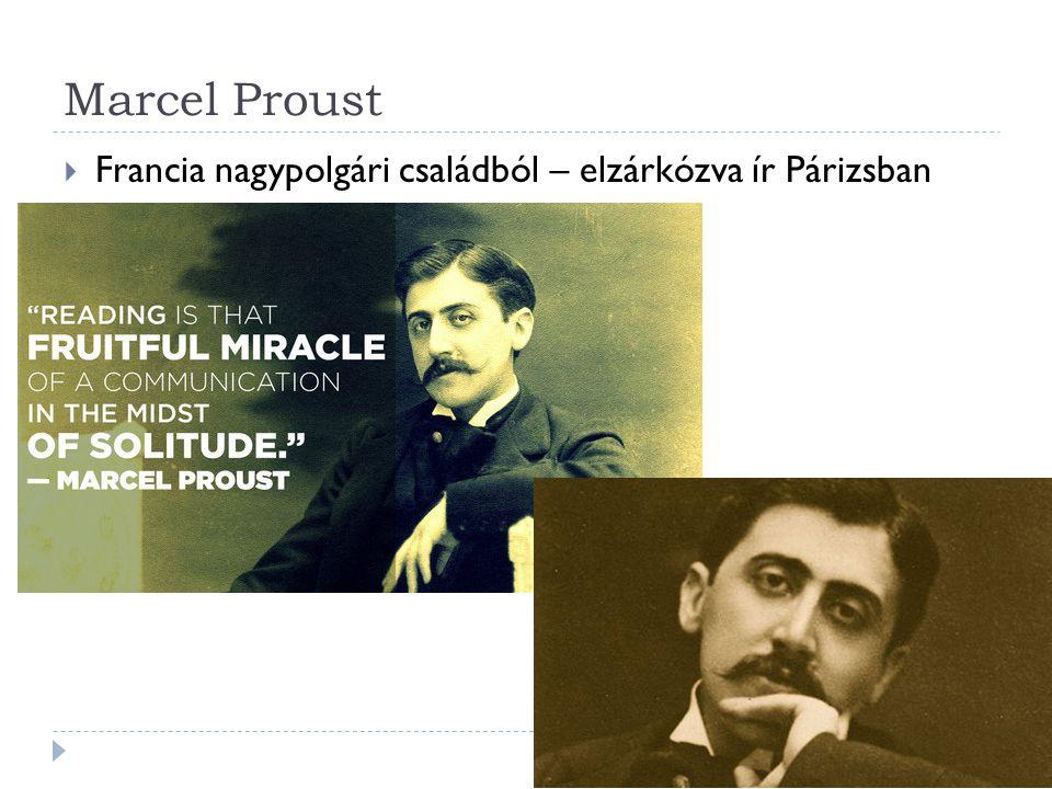 Marcel Proust  Francia nagypolgári családból – elzárkózva ír Párizsban