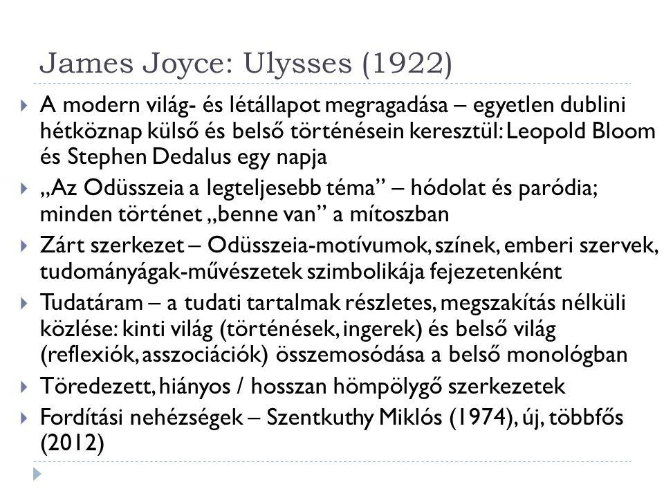 James Joyce: Ulysses (1922)  A modern világ- és létállapot megragadása – egyetlen dublini hétköznap külső és belső történésein keresztül: Leopold Blo