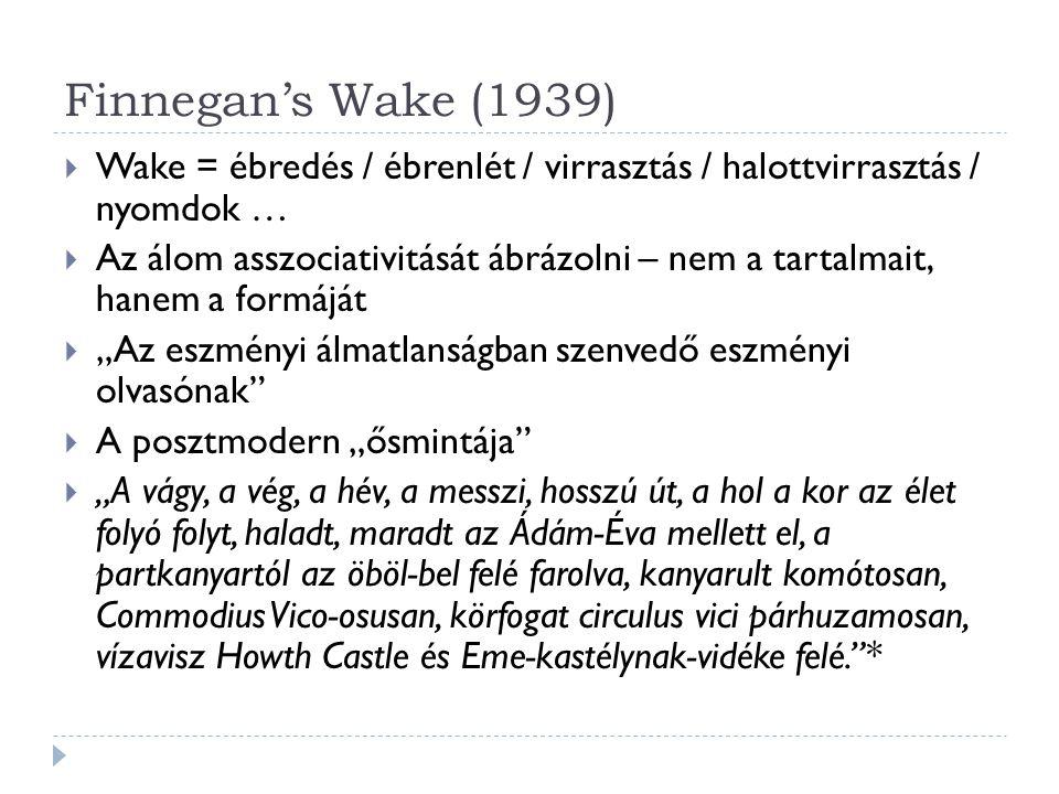 Finnegan's Wake (1939)  Wake = ébredés / ébrenlét / virrasztás / halottvirrasztás / nyomdok …  Az álom asszociativitását ábrázolni – nem a tartalmai
