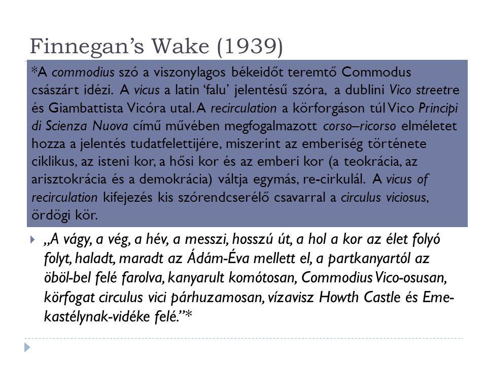 Finnegan's Wake (1939)  Ébredés / ébrenlét / virrasztás / halottvirrasztás / nyomdok  Az álom asszociativitását ábrázolni – nem a tartalmait, hanem