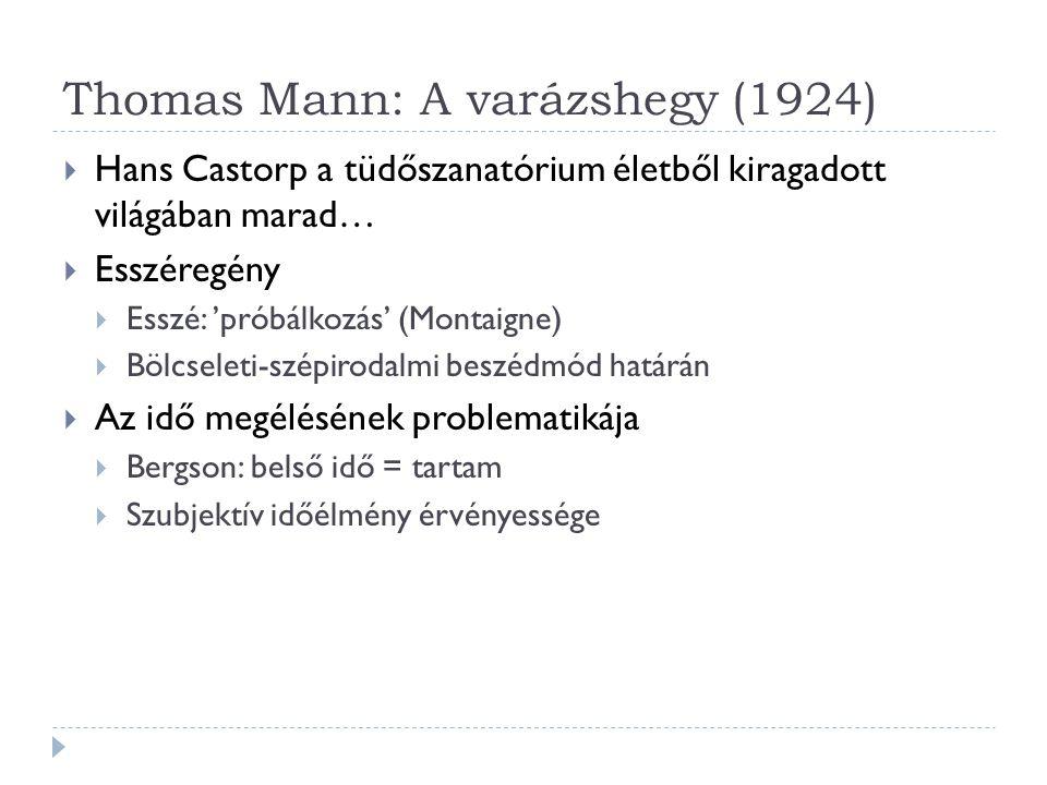 Thomas Mann: A varázshegy (1924)  Hans Castorp a tüdőszanatórium életből kiragadott világában marad…  Esszéregény  Esszé: 'próbálkozás' (Montaigne)