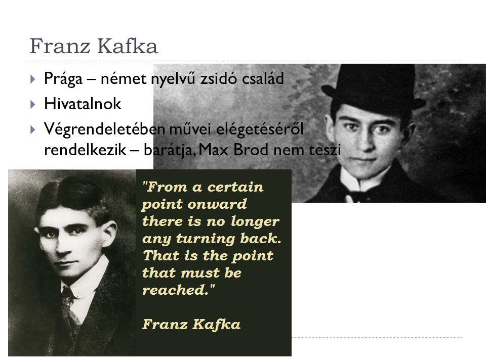 Franz Kafka  Prága – német nyelvű zsidó család  Hivatalnok  Végrendeletében művei elégetéséről rendelkezik – barátja, Max Brod nem teszi