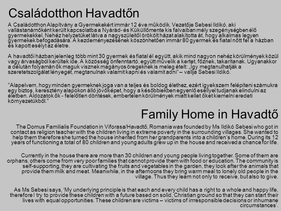 Családotthon Havadtőn A Családotthon Alapítvány a Gyermekekért immár 12 éve működik. Vezetője Sebesi Ildikó, aki vallástanárnőként került kapcsolatba