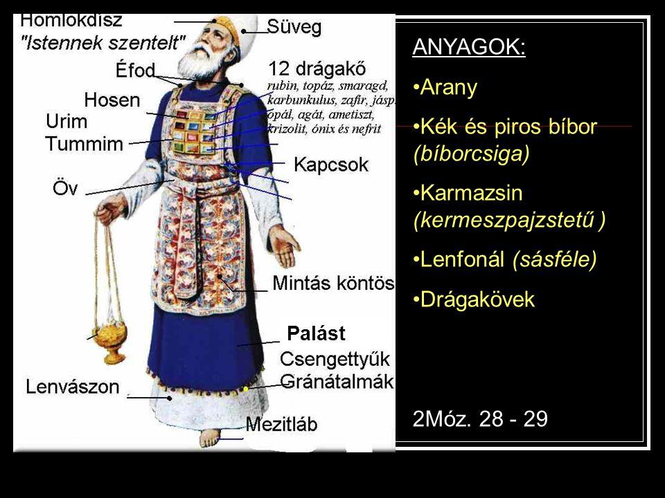 ANYAGOK: Arany Kék és piros bíbor (bíborcsiga) Karmazsin (kermeszpajzstetű ) Lenfonál (sásféle) Drágakövek 2Móz. 28 - 29 Palást